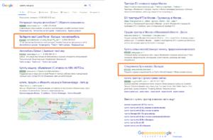 средняя позиция google